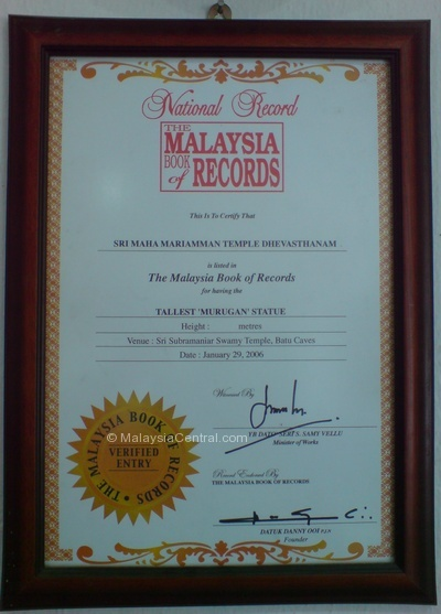 Batu Caves temple Malaysia Book of Records certificate