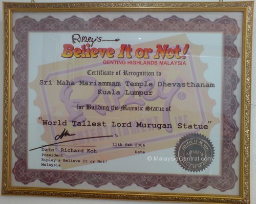 Batu Caves temple Ripleys Believe It Or Not certificate