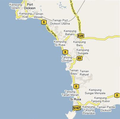 Map of Port Dickson and nearby areas
