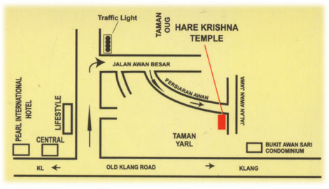 Map to ISKCON Kuala Lumpur