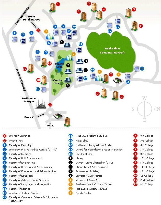 Campus map of University of Malaya
