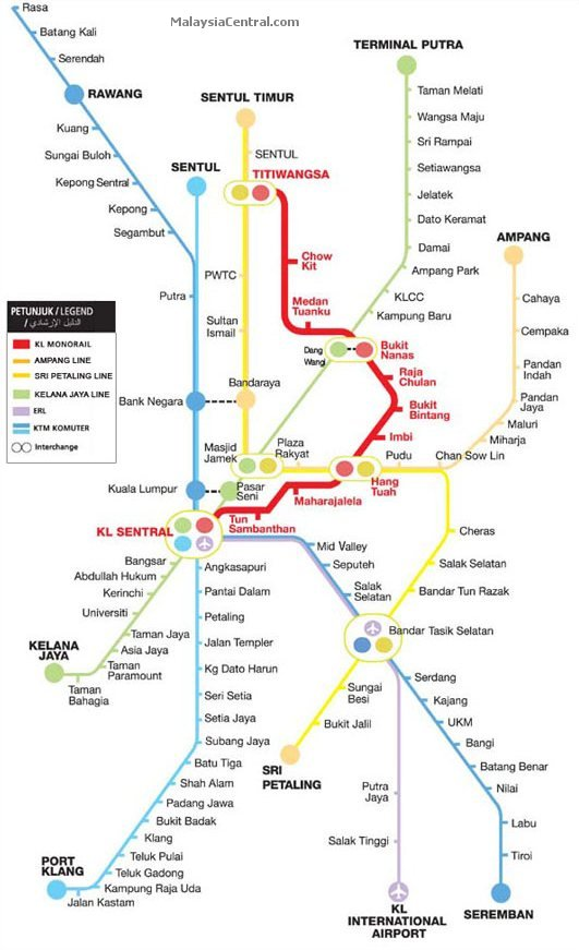 KL Monorail links with other rail and train services in Kuala Lumpur