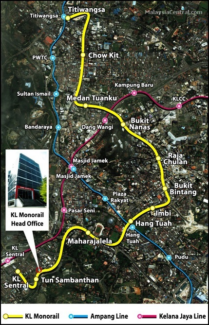 KL Monorail train routes map in Kuala Lumpur
