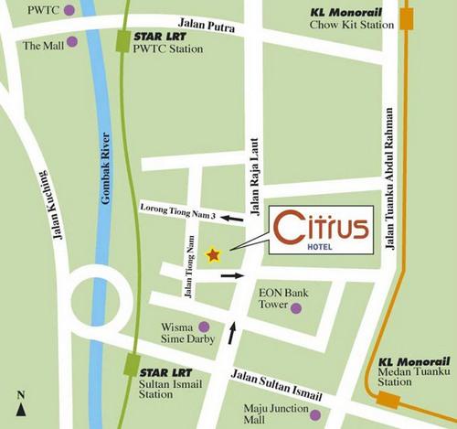 Citrus Hotel Kuala Lumpur map