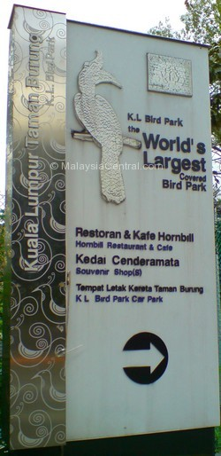 Kuala Lumpur bird park signboard