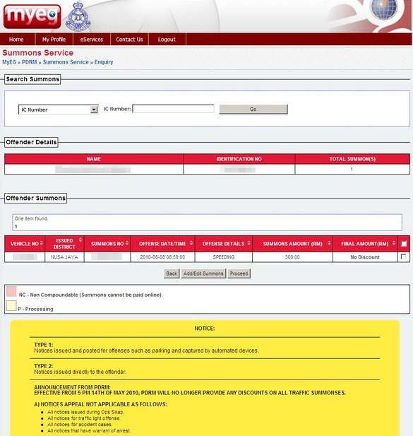 Myeg Eservices Check Polis Diraja Malaysia Pdrm Summons Online Malaysia Central Id