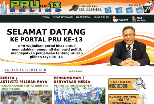 Malaysia 13th General Election (Pilihan Raya Umum Ke-13) Official Government Website
