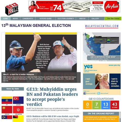 The Star Online: 13th Malaysian General Election GE13 News and Results Portal