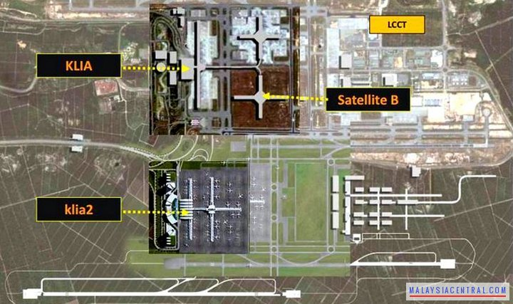KLIA2, KLIA and LCCT satellite map