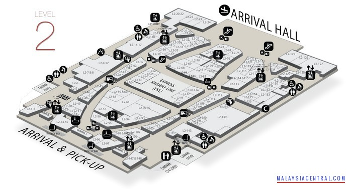 Gateway@KLIA2 floor map and tenant list - Level 2 (Arrival & Pick Up Area)