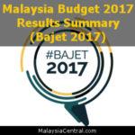 Malaysia Budget 2017 Results Summary (Bajet 2017)
